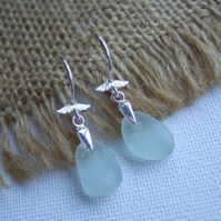 Angelwings, Scottish seafoam sea glass sterling silver earrings, elegant earring