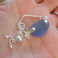 Seaham sea glass bracelet, adjustable sterling silver bracelet, blue beach glass
