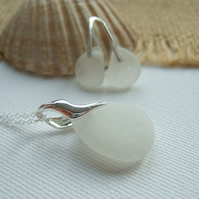 Scottish white sea glass set, wave design sterling, beach glass earrings pendant