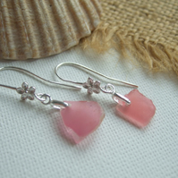 Scottish pink sea glass jewelry, sterling silver pink beach glass, flower