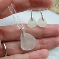 Scottish white sea glass set, minimalist design sterling bail, white beach glass