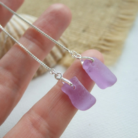 Purple sea glass earring, Neodymium threader earrings, Spanish color changing