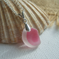 Pink multi sea glass necklace, Seaham pink sterling silver bail, pink sea glass