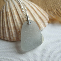 Scottish grey and white TV screen sea glass pendant, gray sea glass on sterling