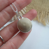 Beach marble necklace, sea clay marble necklace, bezel set, Victorian