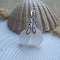 Scottish white sea glass sterling silver earrings, elegant earrings beach glass