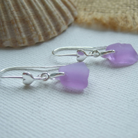 Purple sea glass earring, Neodymium beach heart earrings, Spanish color changing
