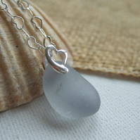 Grey sea glass necklace, Scottish gray beach necklace, heart necklace pendant