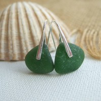 WATERDROPS...Scottish sea glass sterling silver elegant earrings with green sea