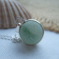 Green beach marble necklace, sea glass marble pendant, sphere pendant