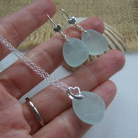 Seaham sea glass jewellery set, romantic heart design earrings and pendant