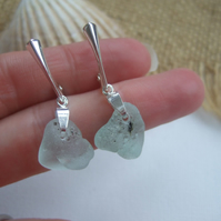 Bonfire Scottish sea glass earrings, molten glass earrings, dangly beach earring