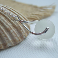 Sea glass white Codd bottle marble necklace...sea glass marble necklace