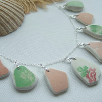 Scottish sea pottery necklace, beach pottery jewelery, beach necklace pink green