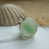 Green sea glass marble necklace, beach glass marble necklace, bezel set