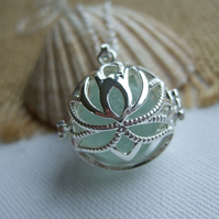 Sea glass marble necklace, silver plated lotus pendant, white sea glass marble