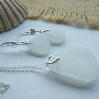 Scottish white sea glass set, heart design sterling bail, white beach glass
