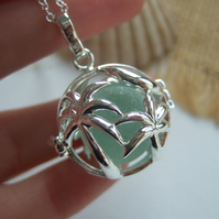 Sea glass marble necklace, silver plated palm trees pendant, white sea glass