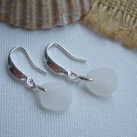 Sea glass earrings, white Seaham sea glass earrings, dangling beach glass jewel