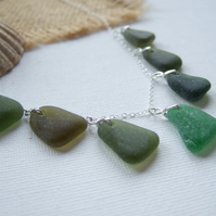 Scottish Green Sea Glass Necklace, Beach Glass Pendants on Sterling Silver chain