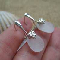 White Seaham sea glass earrings, sterling silver sea glass earrings, lion design