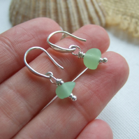 Sterling silver sea glass earrings, Scottish sea glass, waves earrings, UV