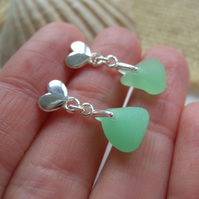 Sterling silver sea glass earrings, Scottish sea glass, heart stud earrings, UV