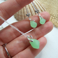 UV Seaham sea glass jewelry set, glow under ultra violet light beach glass