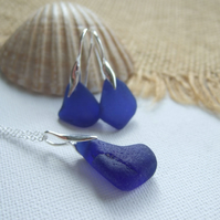 Scottish blue sea glass earring and necklace set, sterling silver jewellery set