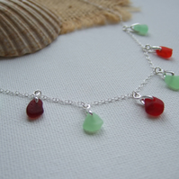 UV ultra violet green and red Seaham sea glass necklace, sea glass pendants