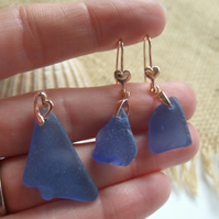 Scottish blue sea glass earring and necklace set, rose gold on sterling silver