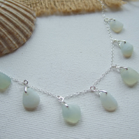 Opalescent sea glass necklace, petite multi pendant beach glass necklace