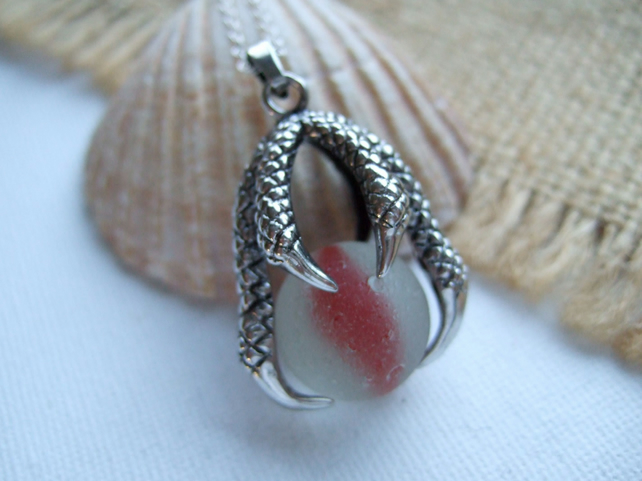 Sea glass marble dragon claw necklace, dragon pendant, red cat's eye sea glass