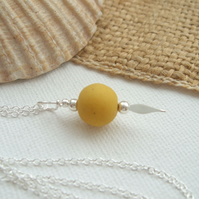 Scottish sea glass bead necklace, yellow glass bead necklace, bead pendant