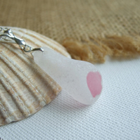 Pink and white sea glass pendant on sterling bail, pink flash sea glass necklace