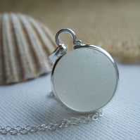 Rare sea glass white Codd bottle marble necklace, sea glass marble necklace