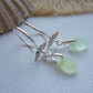 Sterling silver sea glass earrings, Scottish sea glass, angel wing earrings, UV