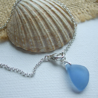 "Blue Sea Glass Bracelet Sterling Silver 8"" , Scottish Beach Glass Bracelet"