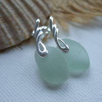 ANGEL WINGS...Scottish sea glass sterling silver elegant earrings with sea foam