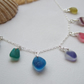 Sea glass rainbow necklace, Seaham rainbow beach glass necklace, multi coloured