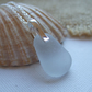 Scottish grey sea glass pendant, drop shaped pendant, sterling silver and gray