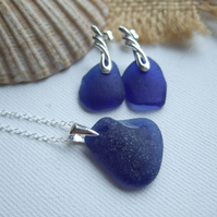 Scottish blue sea glass earring and necklace set, sterling silver blue sea glas
