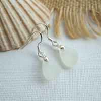 Scottish sea glass earrings, white beach glass earrings, dangle earrings, boho