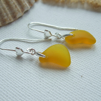 Yellow sea glass earring, yellow beach glass earrings, heart design sterling