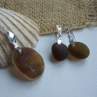 Brown Multi Seaham sea glass earring and necklace set, amber multi sea glass