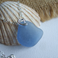 Scottish Ocean blue sea glass pendant on heart bail, blue curved shaped