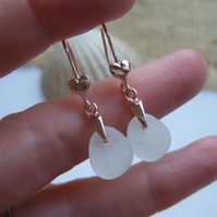 Scottish sea glass earrings, 18K rose gold on sterling silver white sea glass