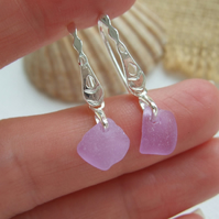 Purple sea glass earring, Neodymium beach glass earrings, Spanish color changing
