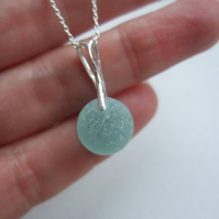 Sea glass marble pendant, beach marble necklace, sterling silver sea glass