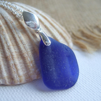 Scottish cobalt blue sea glass pendant on sterling bail, blue sea glass pendant,